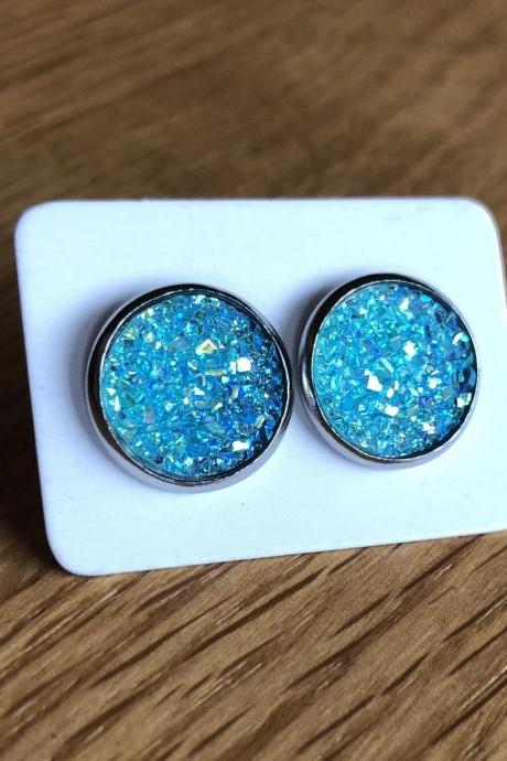 Cabochon Earring, Cabochon Earring 12mm, Black, Gift, Jewelry, Earings
