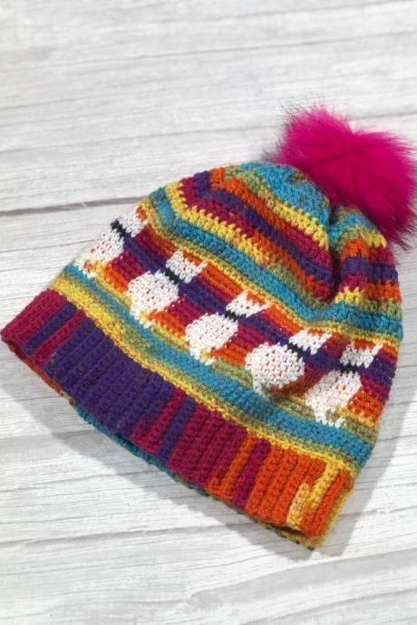 Crochet hat, Adult hat, Teen hat, Colorful , Unique, Cat hat, Cat lovers