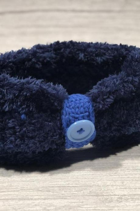 Crochet earwarmer, 2 in 1 (with or without button ring), Adult headband, Teen headband, Soft Fake Furr