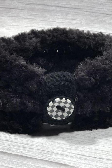 Crochet earwarmer2 in 1 (with or without button ring), Adult headband, Teen headband, Soft Fake Furr