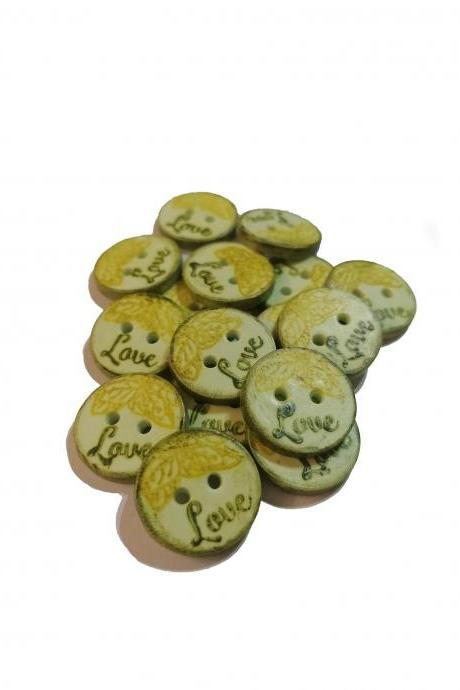 Poylmer Clay Button - Green Love - 2cm (0,8 inch)