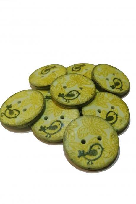Poylmer Clay Button - Green Birds - 2cm (0,8 inch)
