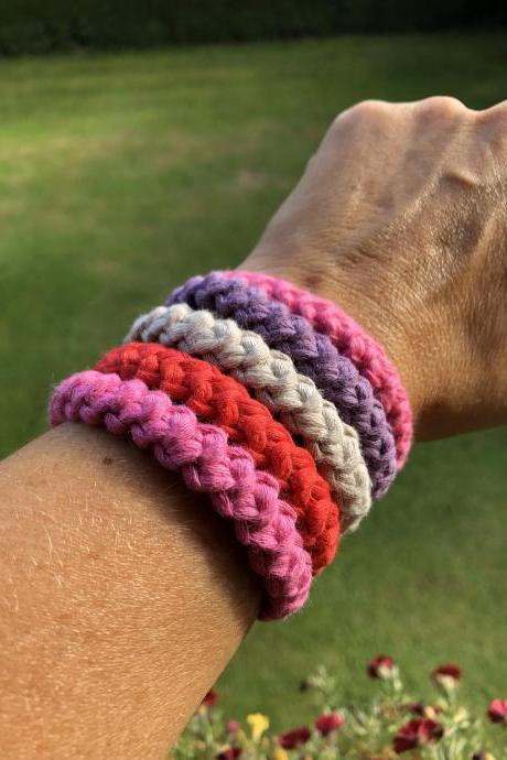 Crochet Bracelet - Simple Bracelet - Casual Bracelet - Chain Lobster Clasps Connectors