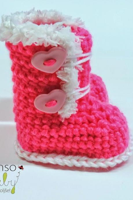 Crocheted slippers - soft wool yarn - winter edition 2019 (baby slippers, wool, baby gift, newborn, boy, girl)